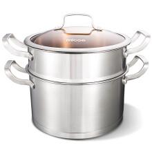 四季沐歌(micoe)不锈钢加厚复底蒸锅两层大容量蒸笼家用电磁炉燃气通用锅具 可视锅盖