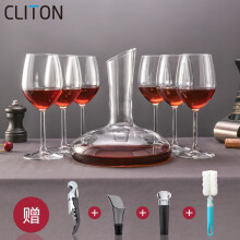 CLITON红酒杯礼盒套装 意大利进口水晶玻璃杯 6支高脚杯+1个醒酒器 送开瓶器+红酒塞+倒酒器+杯刷CL-TZ04