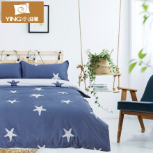 京东超市 迎馨家纺 磨毛三件套床上用品学生被套床单被罩单人床品套件1.2米床 灰色地带 海星155cm*215cm