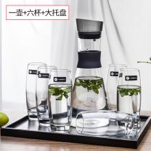 玻璃杯子家用透明无盖喝水杯牛奶杯果汁杯客厅泡茶杯6只套装 极洛壶1.5L+水曲柳大托盘 +利比355六杯