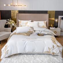 欧莉斯 酒店四件套纯棉100S新疆长绒棉刺绣床单被套全棉玻尿酸五星级酒店床上用品 典雅白 1.5/1.8M床(适合200*230CM被芯)