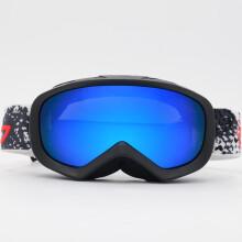 BASTO邦士度 儿童滑雪镜 进口防雾防紫外线 双层球面大镜片 SG1104砂黑-蓝