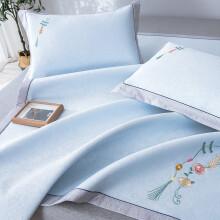 京东超市博洋家纺(BEYOND) 粗丝冰丝席 可折叠空调席三件套 三明治加厚冰丝凉席 翡翠冷 1.8米床