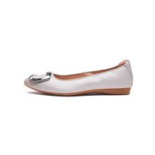 蛋卷鞋 Quicheshoes 尖头平底软底方扣浅口妈妈单鞋女 灰色 36