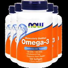 美国进口now诺奥omega-3欧米伽3深海鱼油软胶囊中老年降血糖降血脂100粒 4瓶