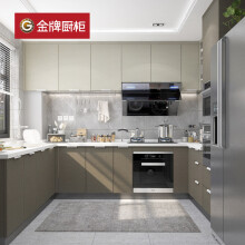 金牌厨柜(GoldenHome)现代简易橱柜定制厨房厨柜装修组装整体厨柜枫之木语1S 金牌橱柜 麻纹浅灰:元/延米