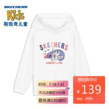 京东超市 Skechers斯凯奇女童可爱童趣活力连帽卫衣L420G002 亮白色0019 L 130