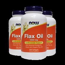 美国进口 Now诺奥天然亚麻籽油软胶囊亚麻酸降血脂三高1000mg250粒 3瓶