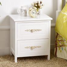 家逸 韩式床头柜 田园实木斗柜储物柜 整装发货 新款全木两层
