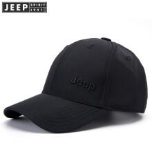 jeep吉普春秋新款棒球帽速干帽男士休闲鸭舌帽户外运动遮阳帽登山帽旅游帽 黑色 可调节 39.9
