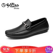 金利来(goldlion)男鞋商务休闲鞋舒适透气套脚皮鞋55984021701A-黑色-39码