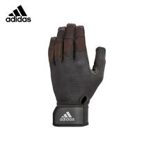 adidas阿迪达斯登山手套男士户外骑行健身防滑支撑护掌护腕通风干爽绒面硅胶触屏可用全指手套 L码