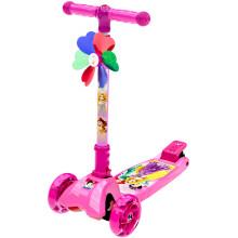 迪士尼(Disney)儿童滑板车1-2-3-6岁 四轮小孩滑步车 可升降折叠闪光摇摆踏板平衡车 粉色公主