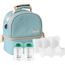 京东超市 小雅象多功能便携式收纳袋三个装婴儿奶瓶吸奶器背奶包外出通用 晨雾蓝+蓝冰2+玻璃宽口储奶瓶2个