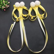 沃雨轩中国风古典女汉服古风发饰创意款COS飘带发夹配饰毛球铃铛发带 黄色2个