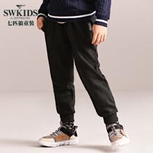 七匹狼童装男童针织裤加绒加厚休闲长裤缩口裤小脚裤DSJD70401124 黑色 170cm