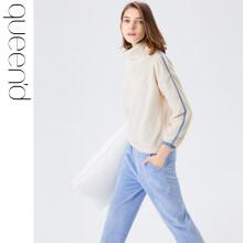 淳度珊瑚绒睡衣女冬季加厚保暖法兰绒家居服半高领时尚可外穿套装 茶白/天蔚蓝 L