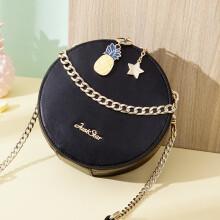 欧时纳(JUST STAR)包包女包时尚手提包圆形包包斜挎女菠萝小圆包 160气质黑