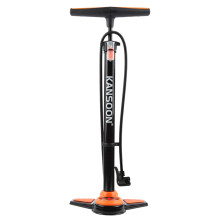凯速高压自行车打气筒英法美嘴适用带气压表(送球针充气玩具嘴)F1014橙黑