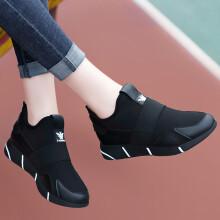 古奇天伦 GUCIHEAVEN 女士韩版时尚百搭运动跑步休闲鞋8819-4 黑色(内增高) 40