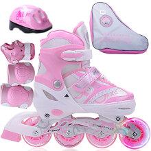 捷豹溜冰鞋儿童初学轮滑鞋男女孩直排轮可调大小码旱冰鞋 粉色前轮单闪套装 中码M(鞋标35-38)推荐6-9岁用到10岁
