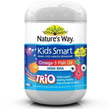 京东国际              佳思敏(Nature's Way) 儿童深海鱼油 澳洲原装进口补充DHA 促进大脑发育 三色鱼油180粒*3瓶