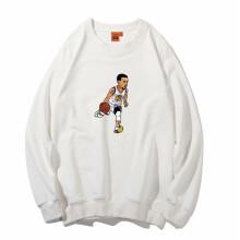 正豹运动卫衣男套头篮球服纯棉球衣詹皇科比格林长袖定制印制 白色库里bb9 S(155-160cm)