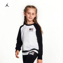 乔丹Jordan 女中小童圆领棉长袖T恤新款春秋装潮运动休闲打底衫83322LT335 L(155/72) K25色