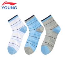 李宁袜子短袜男女儿童运动袜三条装宽松罗纹收口有弹性运动系列袜子 YWTP072-1  白色*1 蓝色*1 灰色*1  XXL