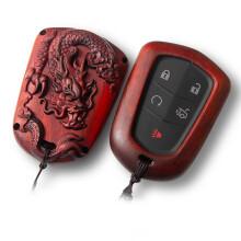 尼罗河 NILE 檀木钥匙扣钥匙套凯迪拉克ATS-L XTS XT4 XT5 CT6 凯雷德等凯迪拉克系列专用钥匙包 A款腾龙戏珠
