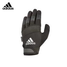adidas阿迪达斯登山手套男士冬季户外骑行健身防滑可调节支撑护掌护腕通风干爽绒面可手机触屏全指手套 黑色 XL码