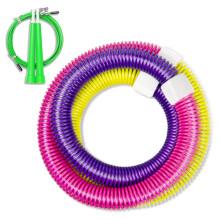 凯速新一代弹簧健身拉力软式呼啦圈、跳绳套装彩色(跳绳颜色随机发货)