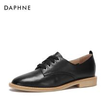 达芙妮(DAPHNE)牛皮系带低帮粗跟单鞋女 黑色39