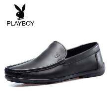 花花公子(PLAYBOY)男士商务牛皮百搭休闲圆头套脚鞋子男D410516WA9 黑色 38