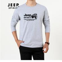 吉普JEEP 长袖T恤男士圆领时尚印花宽松长袖T恤 TR63002 灰色 M