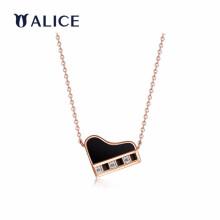 ALICE爱丽丝珠宝18K金钻石项链钢琴玛瑙贝母吊坠锁骨链琴有独钟 气质玛瑙
