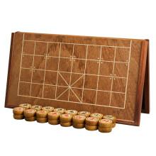 京东超市御圣中国象棋棋盘实木大号黄鸡翅木质高档橡棋子便携式折叠象棋盘套装