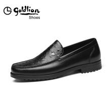 金利来(goldlion)男鞋商务休闲鞋舒适透气套脚皮鞋582820383ALB-黑色-40码