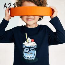 以纯线上品牌A21秋季2019新款童装男童长袖t恤纯棉圆领宽松针织衫潮 R493331005 深蓝 160cm