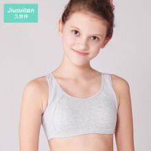 久岁伴少女文胸发育期纯棉内衣女童运动薄款小背心抹胸3061 花灰 140(75A)