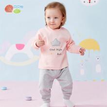 贝贝怡男女宝宝家居服套装2019秋季新款儿童保暖睡衣打底衣2件套 粉色 24个月/身高90cm