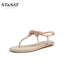 星期六(ST&SAT)平底蝴蝶节夹趾韩版凉鞋女 粉红色 35