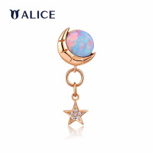 ALICE爱丽丝珠宝 星空系列18K金欧泊耳钉女钻石天然彩宝耳饰 星空系列 18K金望月欧泊耳钉(单个)