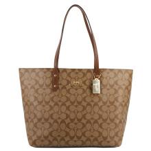 蔻驰 COACH 奢侈品 女士大号托特包手提肩背卡其棕色PVC F76636 IME74