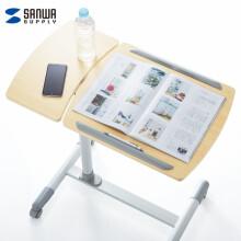 SANWA SUPPLY移动电脑桌 双面板可升降学生桌 演讲桌沙发床边桌懒人桌带刹车轮DESK040 浅木纹