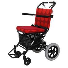 conlo中进超轻便航空航钛铝合金轮椅折叠便携老人残疾人轮椅代步车高品质升级款 红色圆点(送轮椅包)