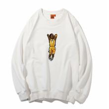 正豹运动卫衣男套头篮球服纯棉球衣詹皇科比格林长袖定制印制 白色科比bb10 S(155-160cm)