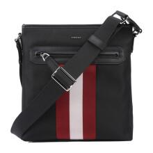 京东国际BALLY巴利奢侈品包男款红白条纹斜挎单肩男士邮差包CURRIOS 6220467 黑色