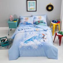 迪士尼全棉儿童床上用品四件套 男孩女孩 学生宿舍纯棉床笠四件套卡通 117蓝色爱莎 1.2米床单三件套(1.5*2米被套)