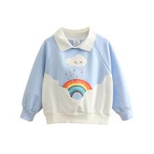 贝壳元素宝宝彩虹卫衣 春装新款女童童装儿童长袖上衣wt9638 蓝色 110cm